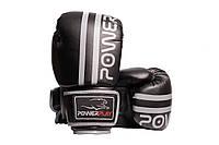Боксерські рукавиці PowerPlay 3010 Чорно-Сірі 14 унцій, фото 1