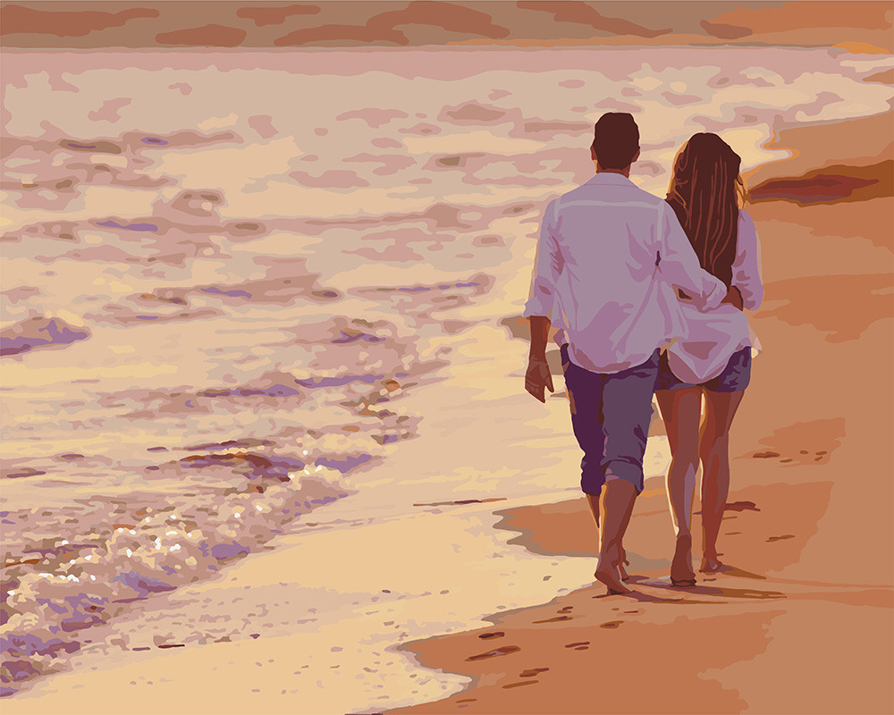 Картина рисование по номерам Идейка Вечерний променад KH4704 40х50 см Романтика, любовь набор для росписи