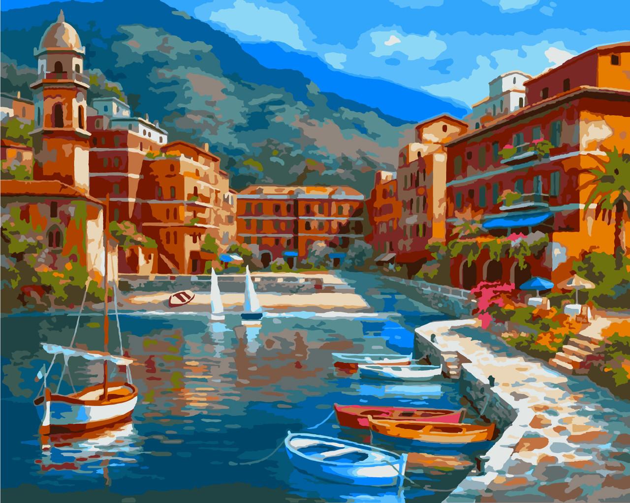 Картина рисование по номерам Идейка Лодочный причал KH2135 40х50 см Море, морской пейзаж, корабли набор для
