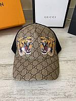 Кепка бейсболка мужская Gucci Tigers Print GG Supreme Baseball Hat