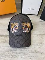 Кепка бейсболка мужская Gucci Tigers Print GG Supreme Black Baseball Hat