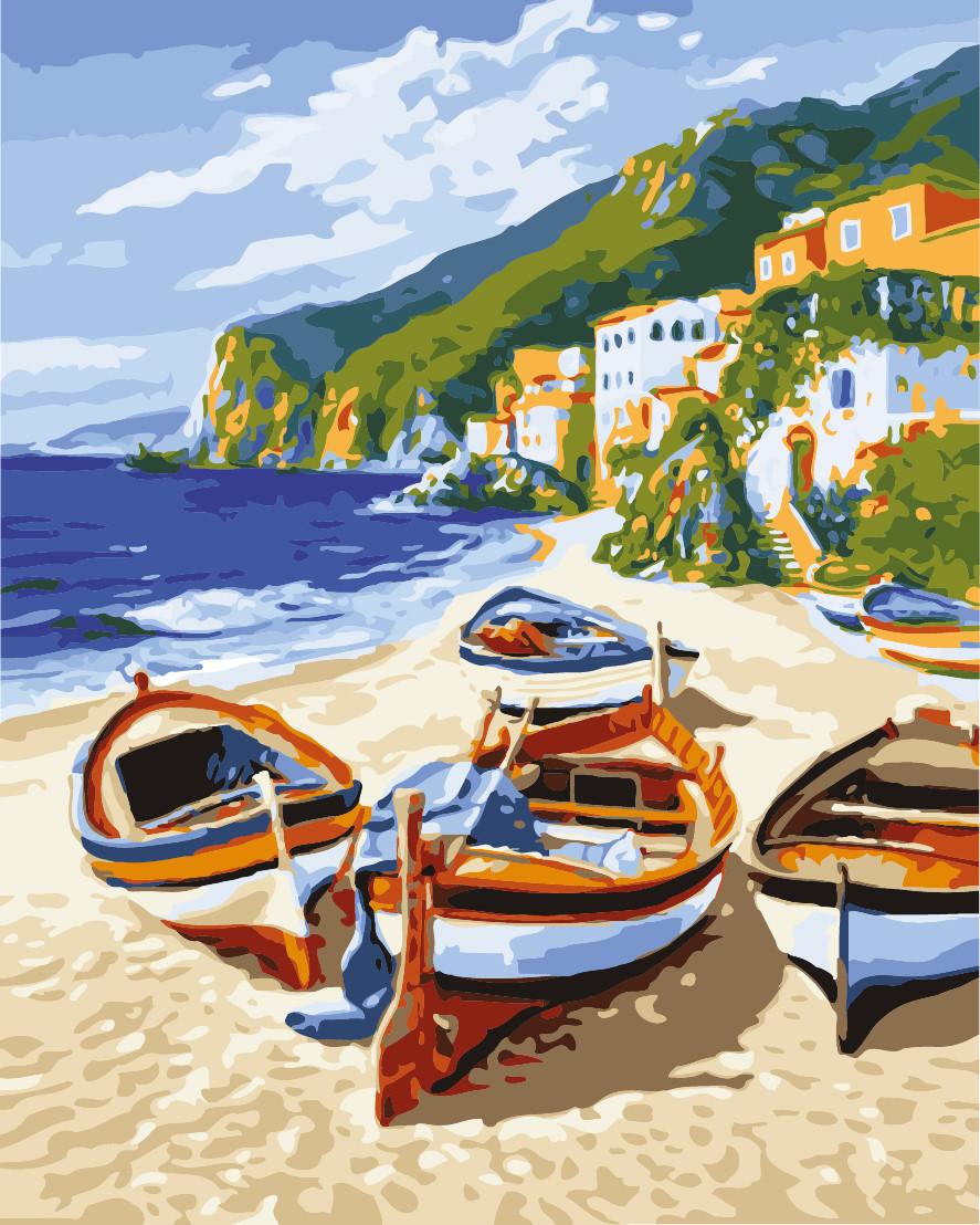 Картина рисование по номерам Идейка Тихая гавань KH2721 40х50 см Море, морской пейзаж, корабли набор для