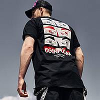 Мужская футболка тенниска оверсайз мужская Пушка Огонь Айс черная