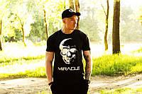 Мужская футболка тенниска Miracle skull black черная