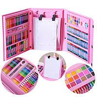 Набор для рисования и творчества в чемоданчике с мольбертом Art Set 208 предметов Розовый Для детей