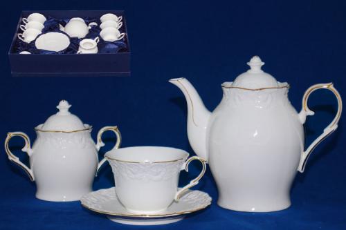 """Сервіз чайний 14 предметів (чашки, блюдця, чайник, цукорниця) """"Біла ніч"""" 1777"""
