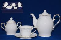 """Сервиз чайный 14 предметов (чашки, блюдца, чайник, сахарница) """"Белая ночь"""" 1777, фото 1"""