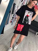 Черная футболка туника с пайетками, фото 1