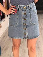Джинсовая юбка на пуговицах спереди, фото 1