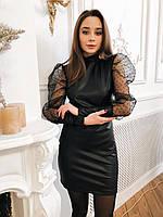 Кожаное платье черное с фатиновыми рукавами, фото 1