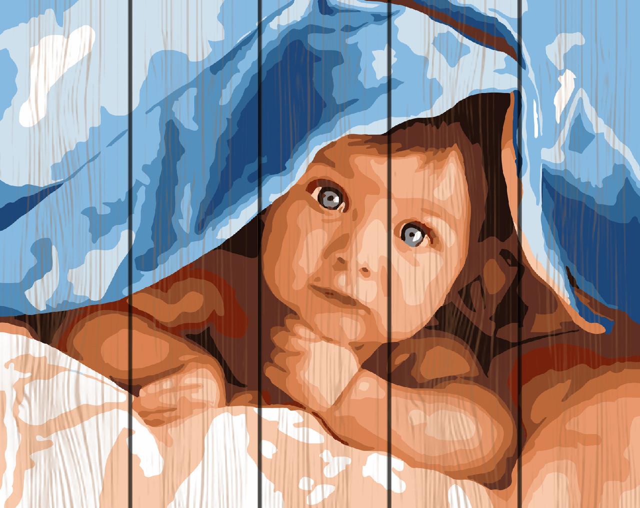 Картина рисование по номерам Rainbow Art Прятки под одеялом RA-GXT26975 40х50 см Дети на картине набор для