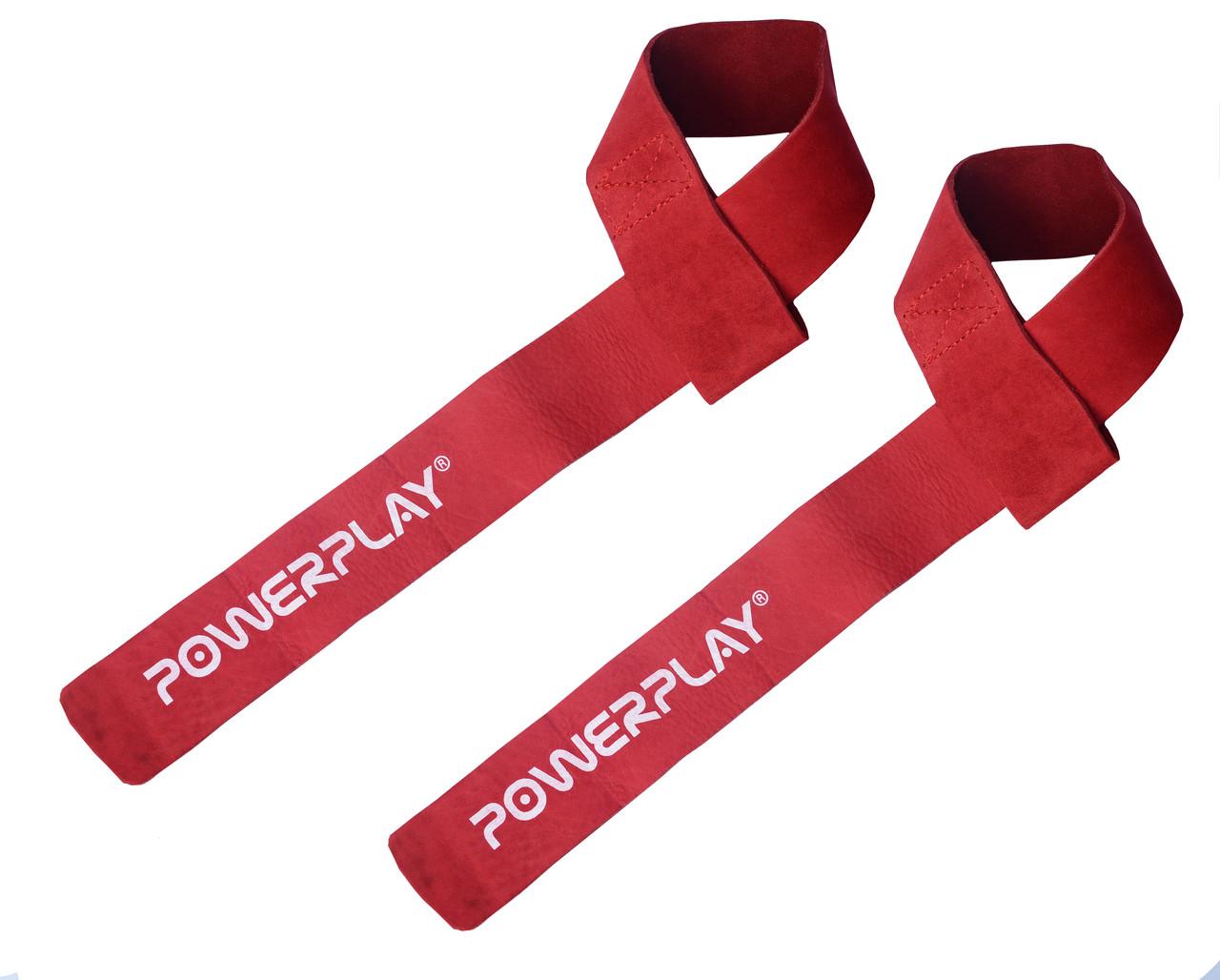 Лямки для тяги PowerPlay 5205 Шкіра Червоні