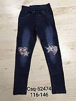 Лосини з імітацією джинси утеплені для дівчаток Seagull, 116-146 рр. Артикул: CSQ52474, фото 1