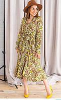 Летнее  платье с длинным рукавом в цветочек, фото 1