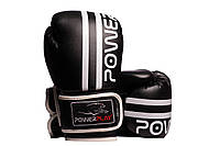Боксерські рукавиці PowerPlay 3010 Чорно-Білі 14 унцій, фото 1