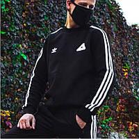 Мужской свитшот худи теплый Адидас Adidas Palace черный