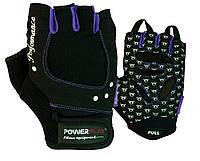 Рукавички для фітнесу PowerPlay 1751 жіночі Чорно-Фіолетові XS, фото 1