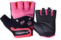 Рукавички для фітнесу PowerPlay 3492 жіночі Чорно-Розові XS, фото 1
