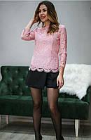 Кружевная женская блузка розового цвета, фото 1