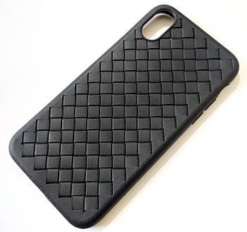 Чехол для iPhone X / iPhone XS плетеный TPU Candy черный
