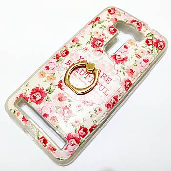 Чехол с кольцом для Asus Zenfone 2 Laser ze550kl / ze551kl силиконовый с рисунком цветы маленькие розы