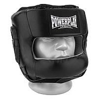 Боксерський шолом тренувальний PowerPlay 3067 з бампером PU + Amara Чорний XL, фото 1
