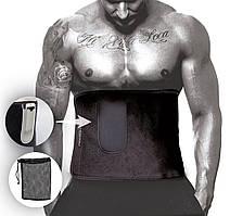 Пояс для схуднення PowerPlay 4301 (125*30) Чорний з додатковою кишенею для телефону