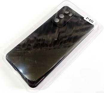 Чехол для Huawei P40 матовый Silicone Case Full Cover Macarons Color Черный