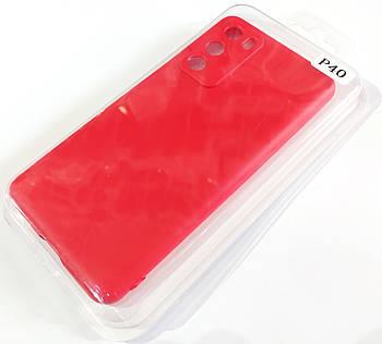 Чехол для Huawei P40 матовый Silicone Case Full Cover Macarons Color Красный