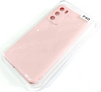 Чехол для Huawei P40 матовый Silicone Case Full Cover Macarons Color Розовый