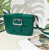 Маленькая женская сумка из лаковой кожи зеленого цвета, фото 1