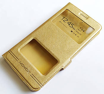 Чехол книжка с окошками momax для Huawei Y6 II / Y6-2 / Y6 2 золотой