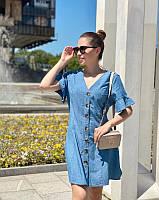 Джинсовое платье сарафан на пуговицах с коротким рукавом размер с м л, фото 1