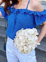 Топ блузка в горошек с открытыми плечами и рюшами, фото 1