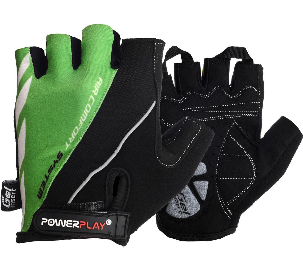 Велорукавички PowerPlay 5024 B Чорно-зелені XL