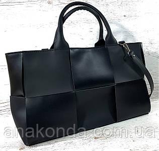 721 Натуральная кожа Женская сумка кожаная черная формат А4 плетеная Сумка из натуральной кожи большая 2020