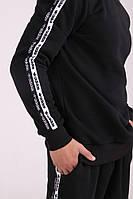 Толстовка свитшот утеплённый чёрный с лампасами Adidas Duo
