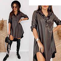 Платье свободного кроя из эко-кожи