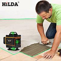 Лазерный уровень 4D 16 линий зеленый луч самонивелирующийся осепостроитель HILDA