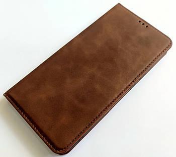 Чехол книжка Leather Book для Xiaomi Mi Note 10 Темно-коричневый