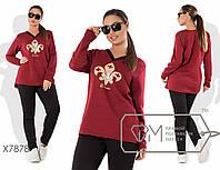 Осенний трикотажный женский спортивный костюм больших размеров с принтом на груди р.48-56. Арт-3828/20, фото 1
