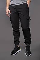 Штаны карго брюки мужские зимние теплые качественные черные Softshell Intruder
