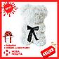 Красивый мишка из латексных 3D роз 25 см с лентой в подарочной коробке   Белый, фото 2