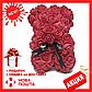 Красивый мишка из латексных 3D роз 25 см с лентой в подарочной коробке   Белый, фото 5
