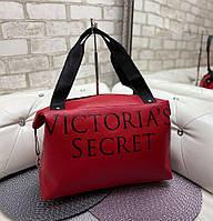 Женская спортивная дорожная сумка небольшая через плечо красная кожзам, фото 1