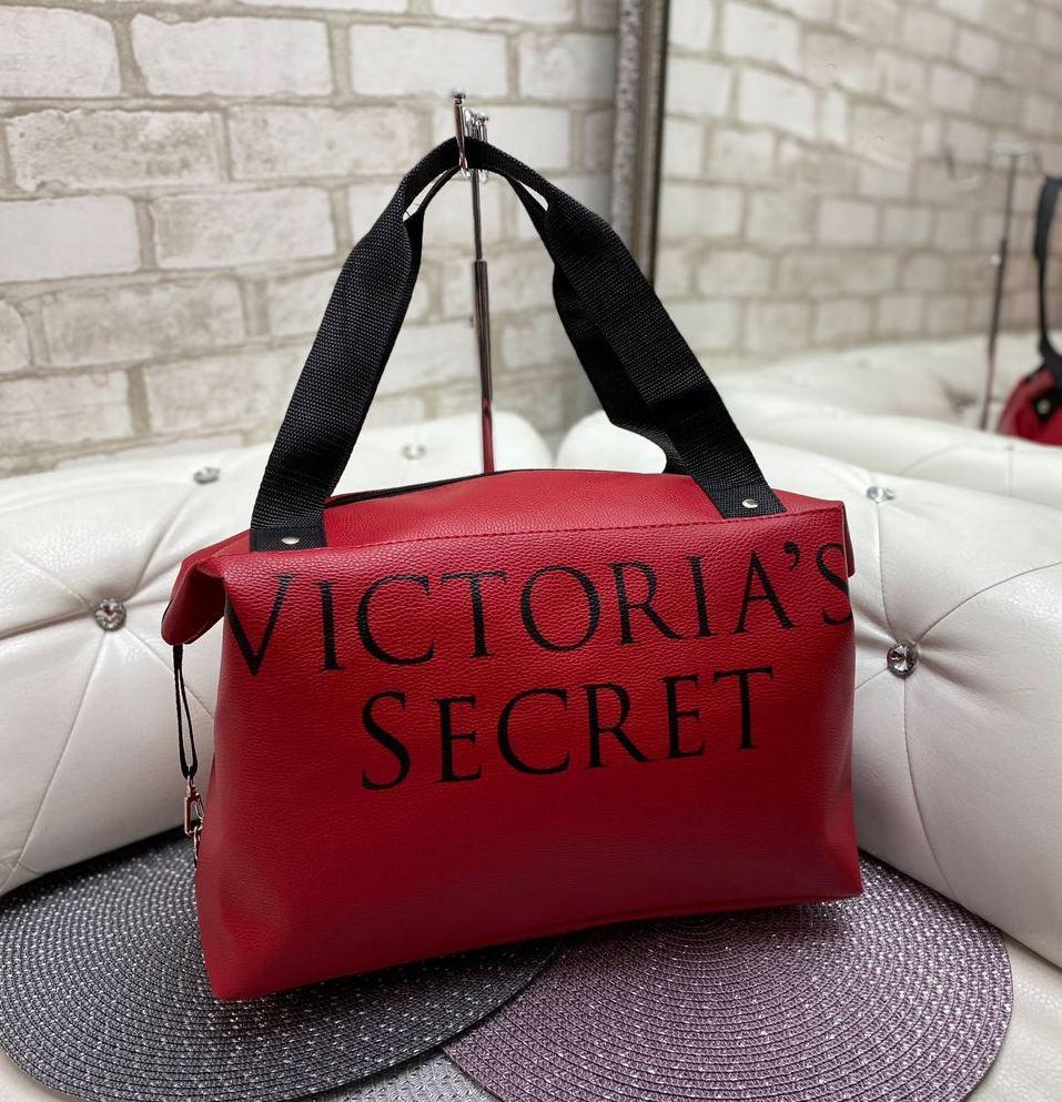 Женская спортивная дорожная сумка небольшая через плечо красная кожзам