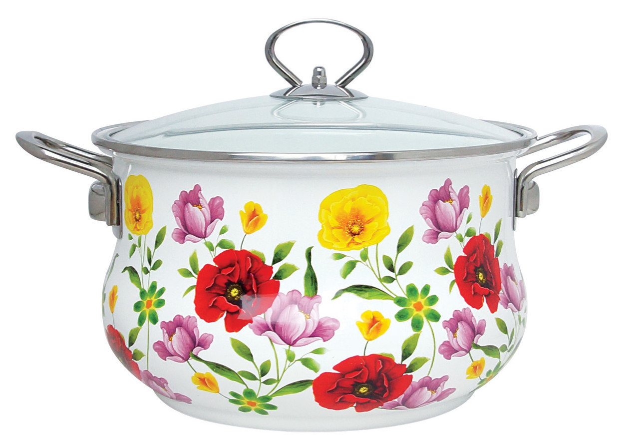 Эмалированная кастрюля с крышкой Benson BN-117 белая с цветочным декором (2.7 л) | кухонная посуда | кастрюли