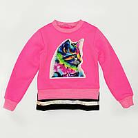 Свитшот (реглан) детский р.98,104,116,122 с начесом SmileTime Color Kitten, розовый неон