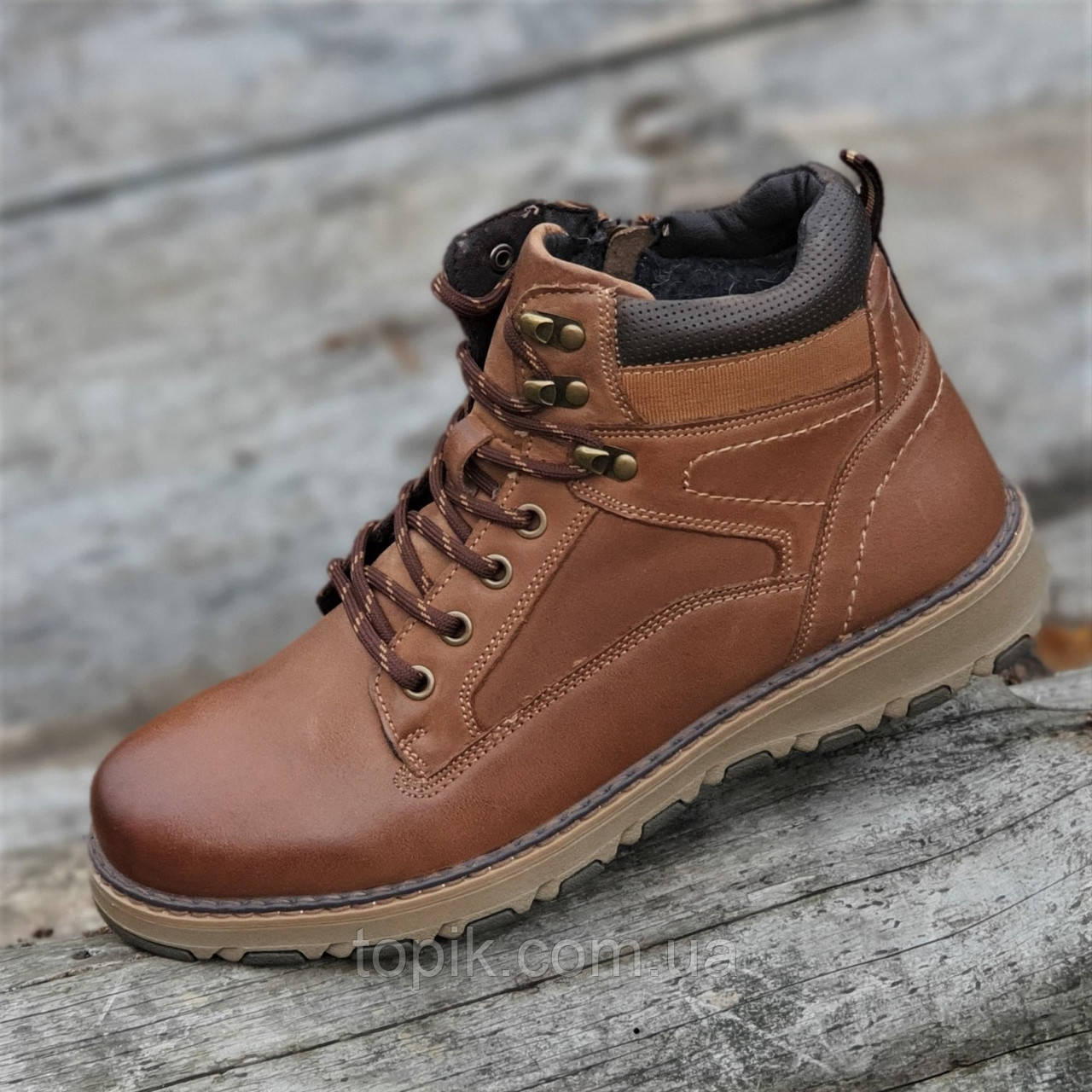 Ботинки мужские зимние кожаные коричневые на шнурках на молнии (Код: 1822)