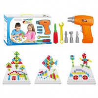 Конструктор мозаика с шуроповертом 4в1 в чемодане (193 детали) детский конструктор, конструктор для детей